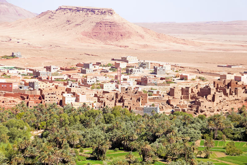 Оазис в пустыне в Марокко Стоковое Фото