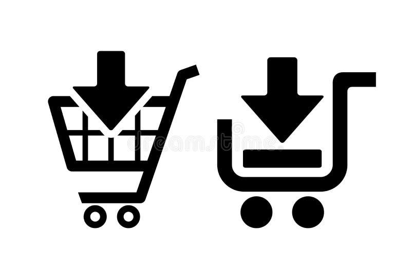 добавьте икону тележки ходя по магазинам к иллюстрация штока