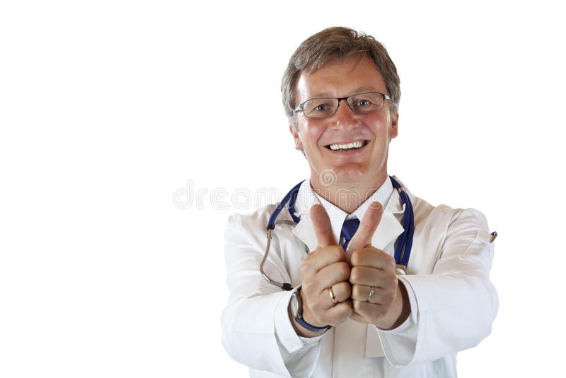 оба большого пальца руки выставок доктора счастливых мыжских медицинских вверх стоковое фото