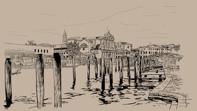 Обваловка Венеции Италия Чертеж руки эскиза цифров иллюстрация вектора