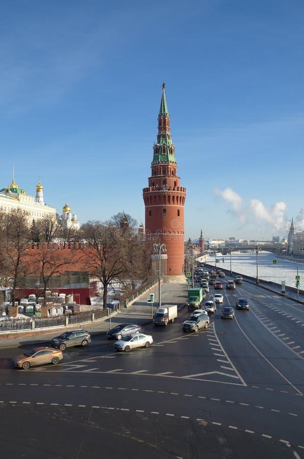 Обваловка в зимнем дне, Москва Москвы Кремля и Кремля, Россия стоковые фото