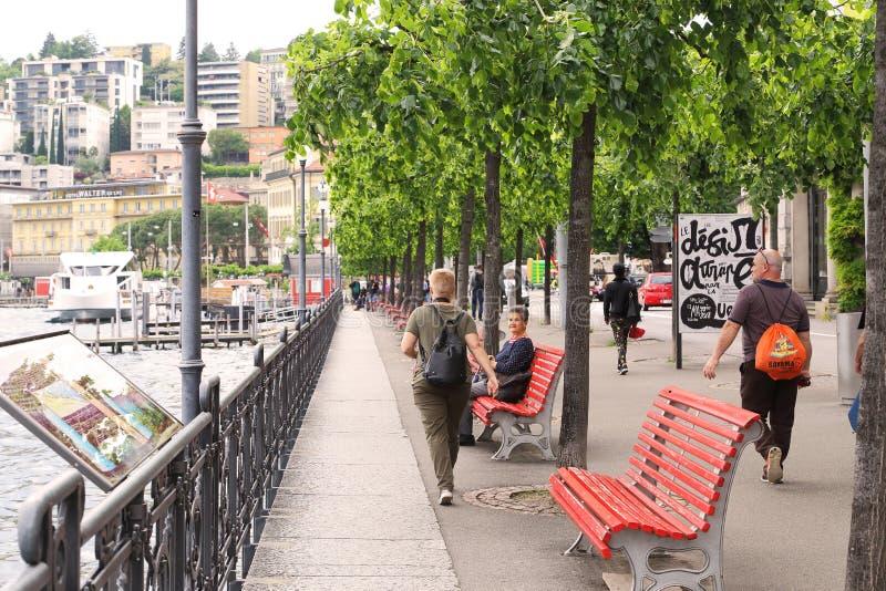 Обваловка города Лугано стоковые изображения
