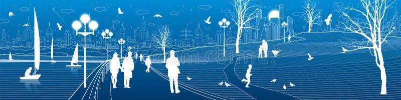 Обваловка города Прогулка людей вдоль тротуара Выравнивать загоренный парк Дети играют птицы летают Современный городок o ночи бесплатная иллюстрация