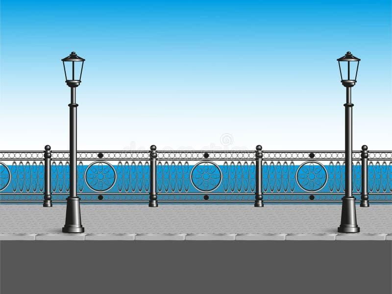 Обваловка моря с загородкой и фонарными столбами также вектор иллюстрации притяжки corel иллюстрация штока