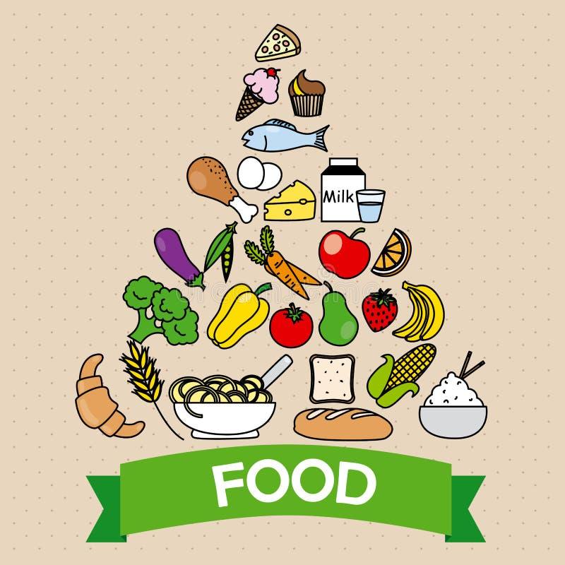 обвалите овощи в сухарях пирамидки гайки молока мяса еды сыра изолированные плодоовощ белые иллюстрация вектора