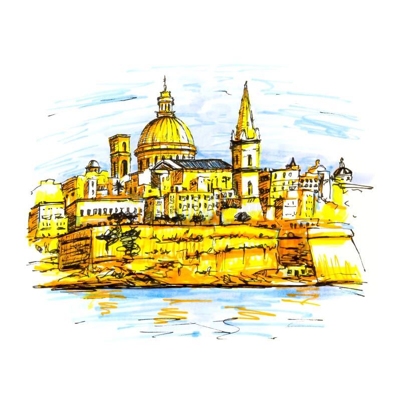 Обваловка Валлетты, Мальты иллюстрация штока