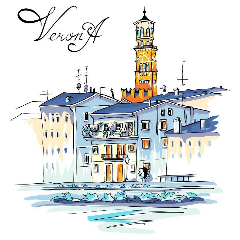 Обваловка реки Адидже вектора в Вероне, Италии иллюстрация вектора