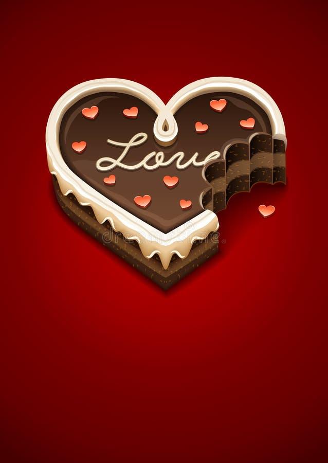 Обгрызенный торт сладостного шоколада как сердце с влюбленностью иллюстрация вектора