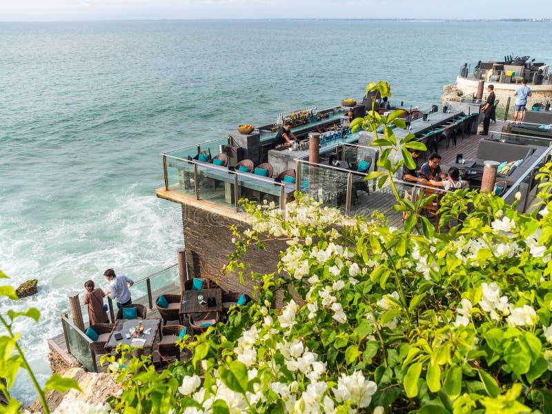 Обедать на foreshore в заливе Бали Jimbaran стоковые изображения rf