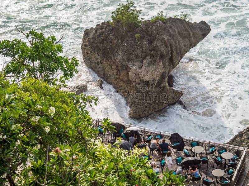 Обедать на foreshore в заливе Бали Jimbaran стоковое изображение