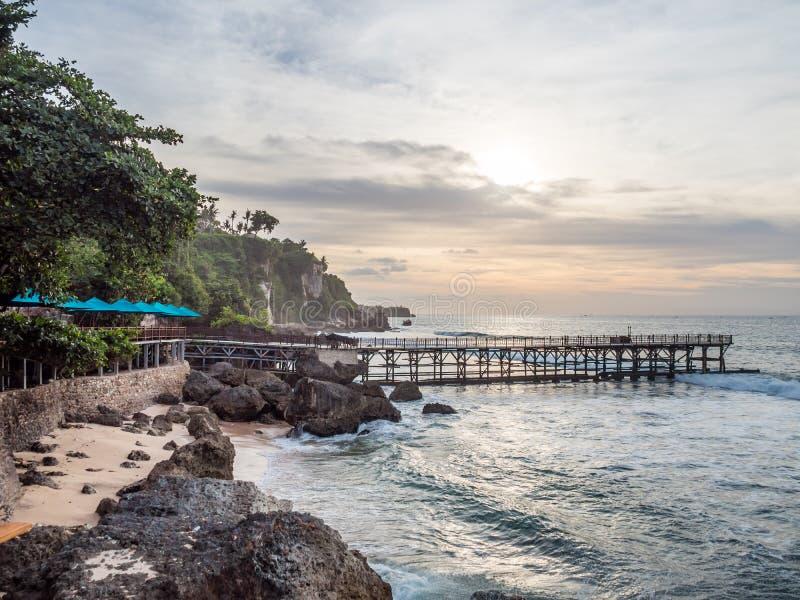 Обедать на foreshore в заливе Бали Jimbaran стоковое изображение rf