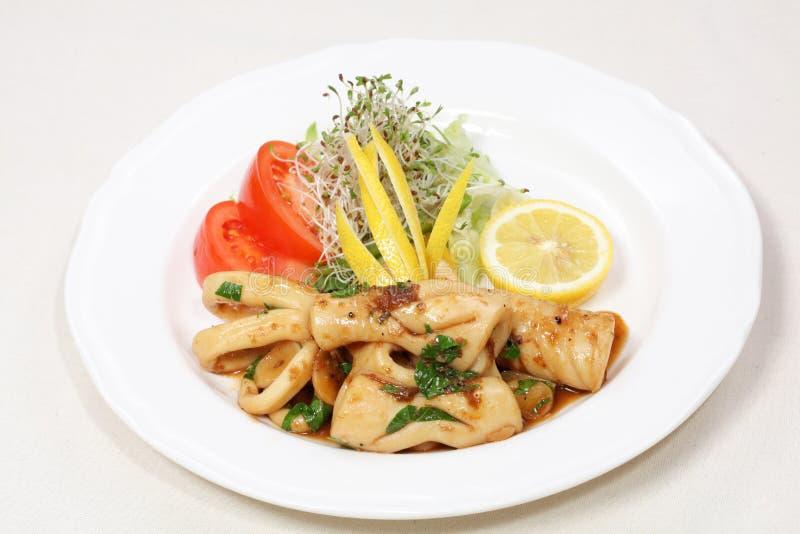 обедать отлично свежий кальмар еды стоковые изображения rf