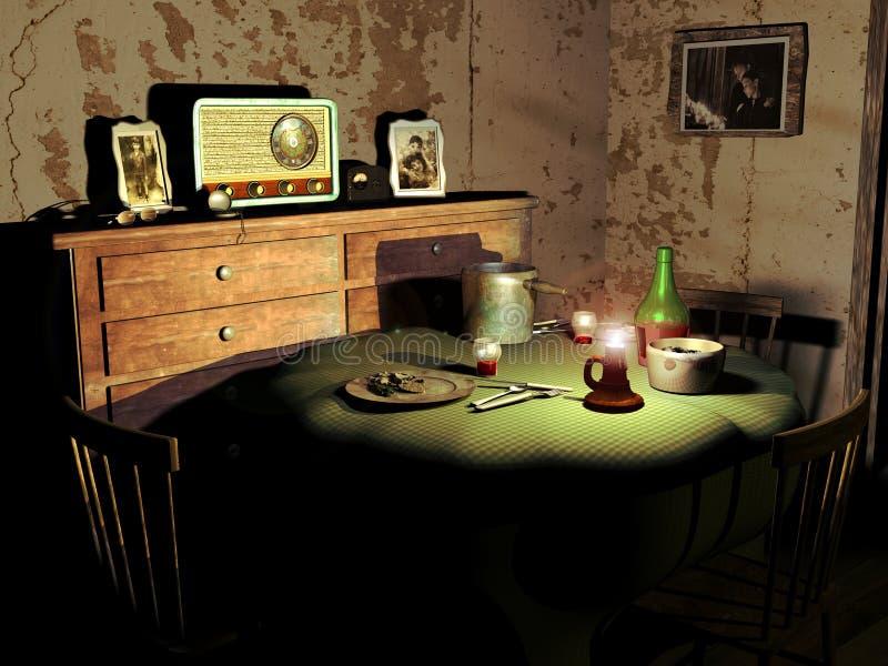обедать старая комната иллюстрация штока