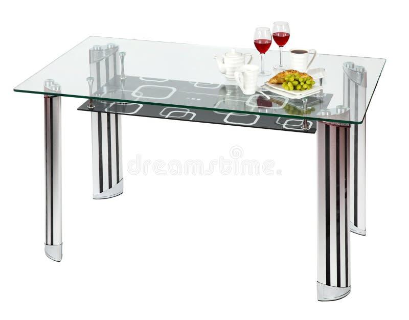 обедать стеклянная самомоднейшая верхняя часть таблицы стоковая фотография rf