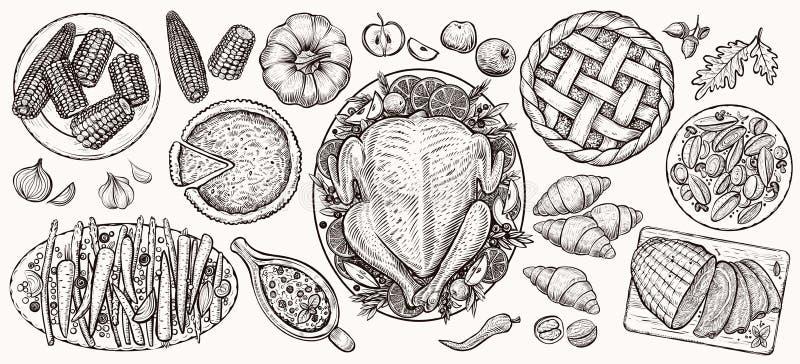 Обедающий благодарения, взгляд сверху Иллюстрации вектора еды реалистические иллюстрация вектора