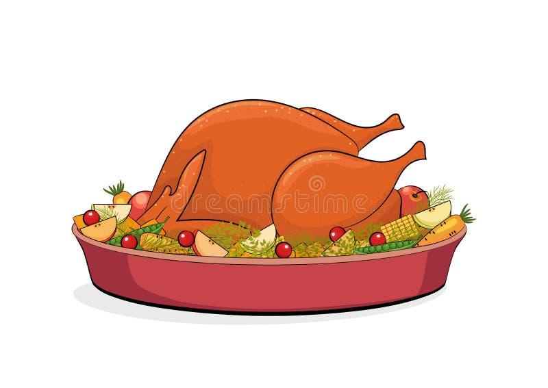 Обедающий благодарения, жаркое Турция с фруктами и овощами бесплатная иллюстрация
