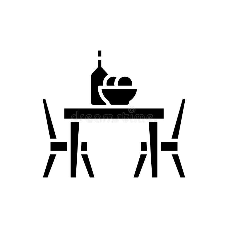 Обедающий на концепции значка черноты кафа Обедающий на символе вектора кафа плоском, знак, иллюстрация иллюстрация штока