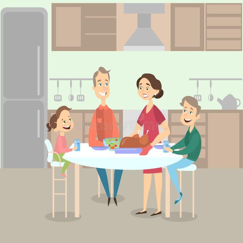 Обедающий семьи с индюком иллюстрация вектора