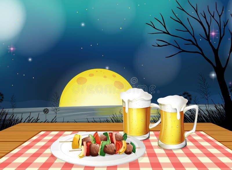 Обедающий BBQ с холодным пивом бесплатная иллюстрация