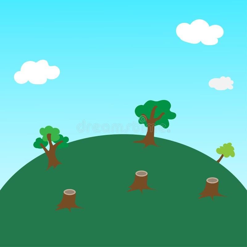 Обезлесение на холме, деревьях и векторе пня иллюстрация вектора