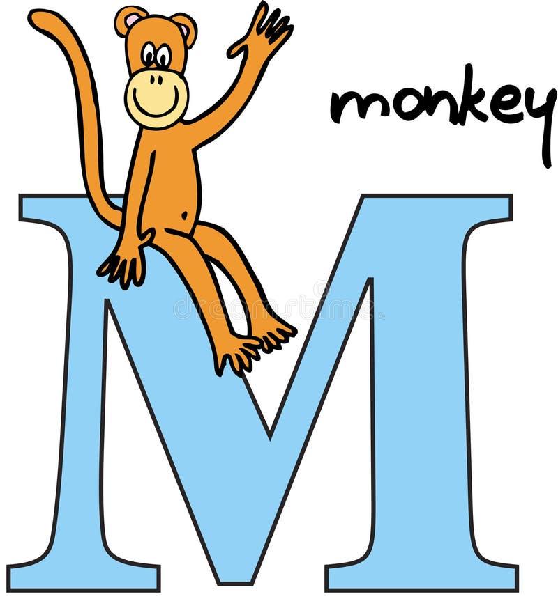 обезьяна алфавита животная m иллюстрация вектора