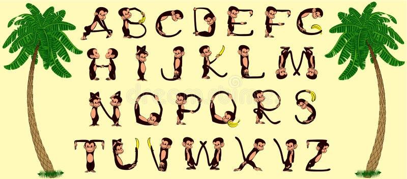 обезьяна алфавита иллюстрация штока
