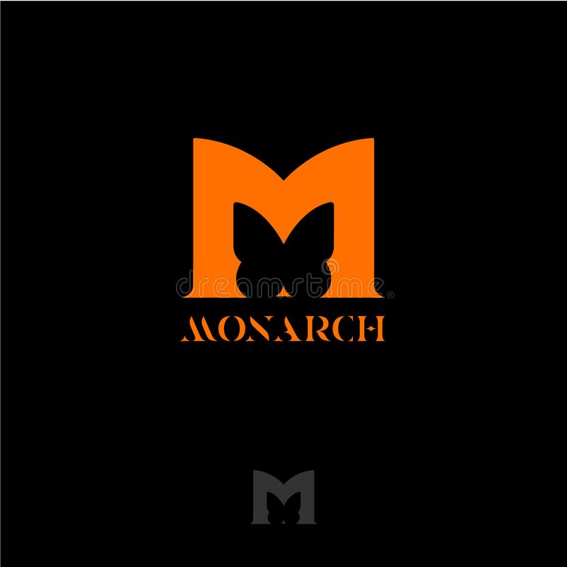 Обезьяна волшебства мыши луны Alphabet Оранжевое письмо m с силуэтом бабочки Литерность бабочки монарха иллюстрация штока