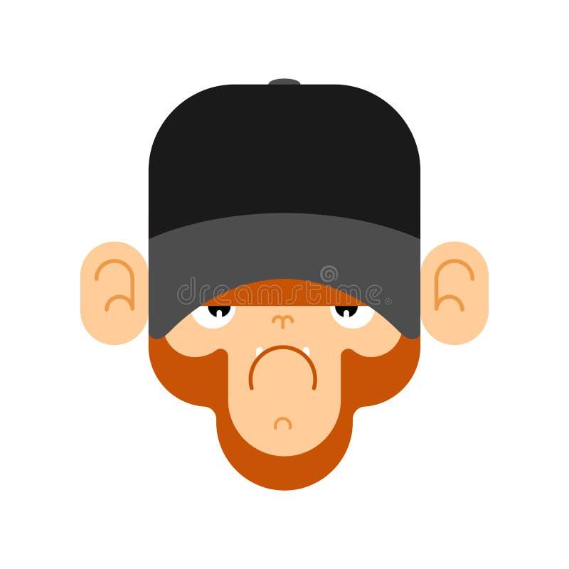 Обезьяна в бейсбольной кепке Сторона гориллы r иллюстрация вектора