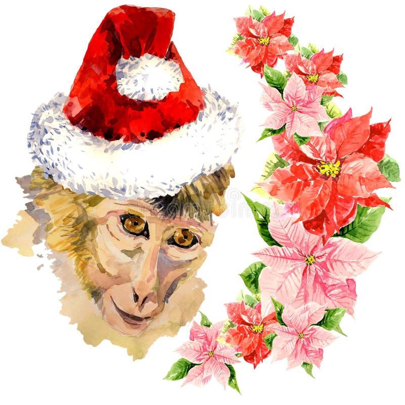 Обезьяна в красной милой шляпе Санта Клауса изумлять иллюстрация штока