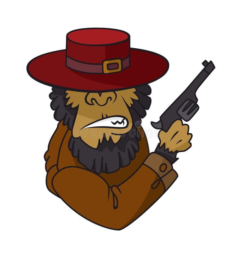 Обезьяна гангстера в пулемете удерживания костюма Иллюстрация вектора, голова гориллы serios в шляпе fedora на белом бесплатная иллюстрация