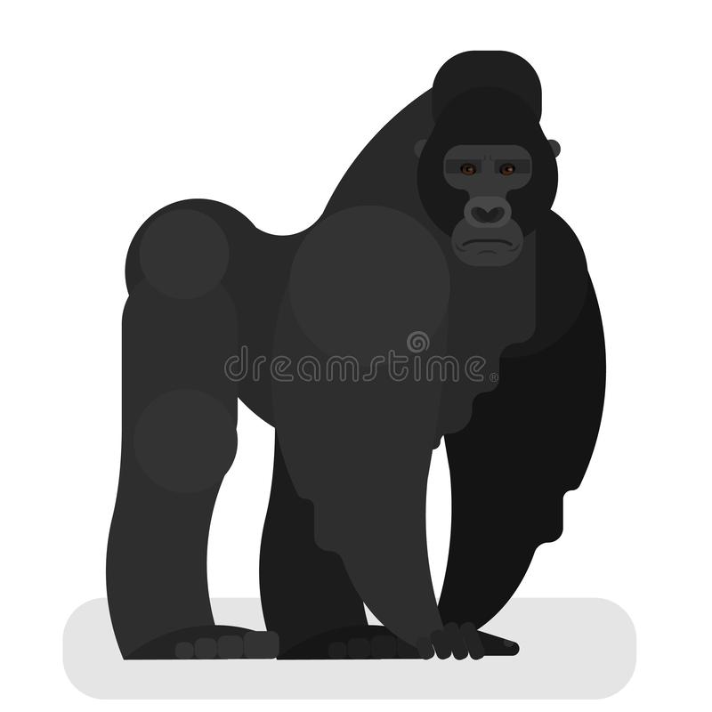 Обезьяна гориллы Сильный дикий примат с мышцей бесплатная иллюстрация