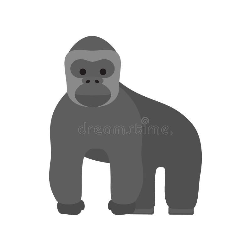 Обезьяна гориллы Сильный дикий примат с мышцей иллюстрация вектора