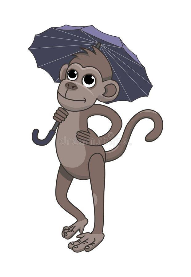 Обезьяна держит зонтик иллюстрация штока