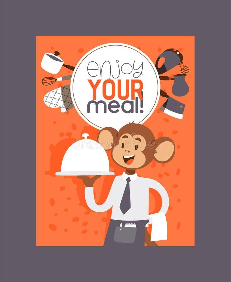 Обезьяна как иллюстрация вектора характера людей Дикое животное мультфильма играя варить и еду еду профессиональный иллюстрация вектора