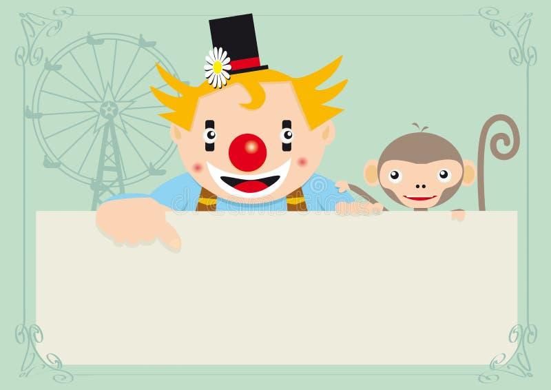 обезьяна клоуна иллюстрация вектора