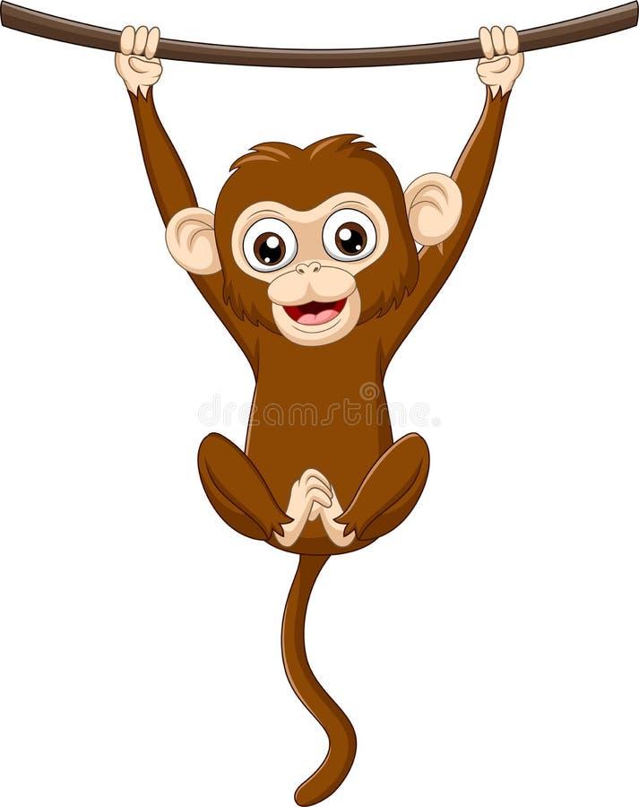 Обезьяна младенца мультфильма вися на деревянной ветви иллюстрация вектора