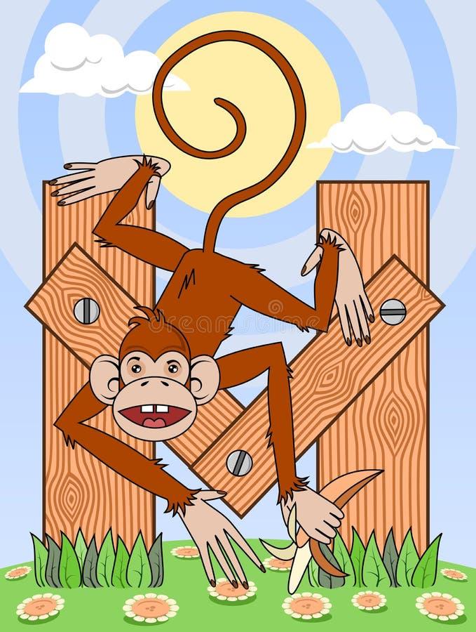 обезьяна письма m иллюстрация вектора