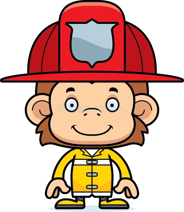 Обезьяна пожарного шаржа усмехаясь бесплатная иллюстрация