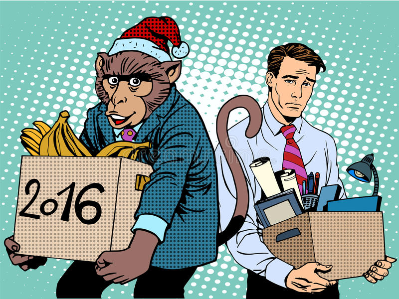 Обезьяна Санта Клауса 2016 Новых Годов и унылых люди иллюстрация штока