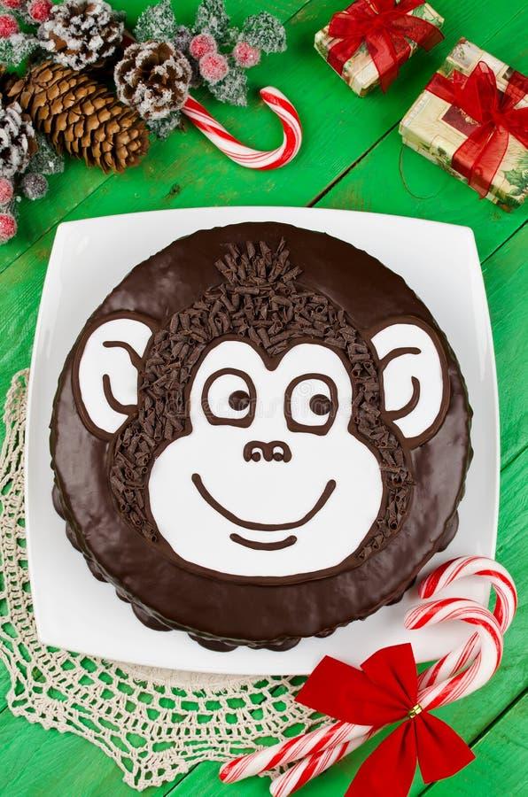 Обезьяна шоколадного торта стоковая фотография rf