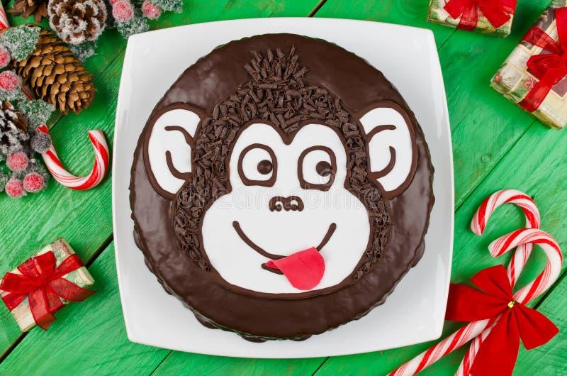 Обезьяна шоколадного торта стоковая фотография