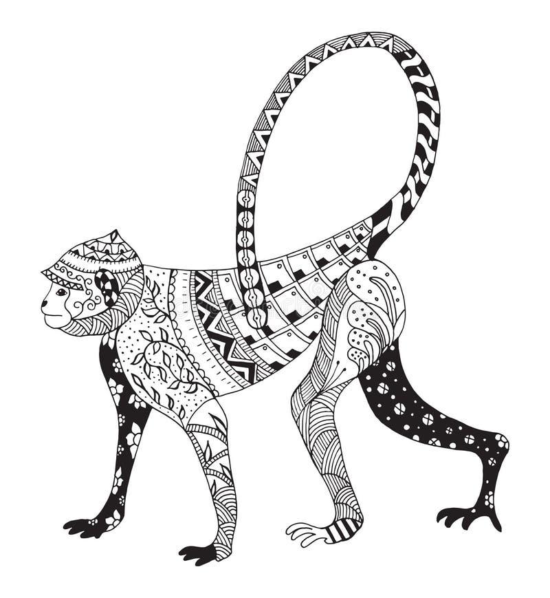 Обезьяна Zentangle стилизованная, китайский зодиак иллюстрация вектора