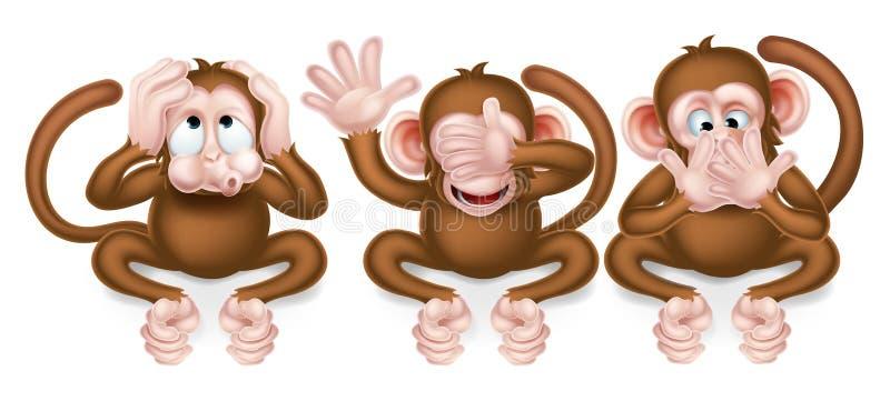 обезьяны 3 велемудрые иллюстрация вектора