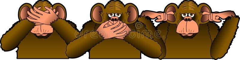 обезьяны 3 велемудрые иллюстрация штока