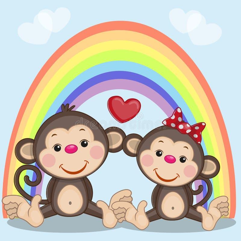 2 обезьяны иллюстрация штока