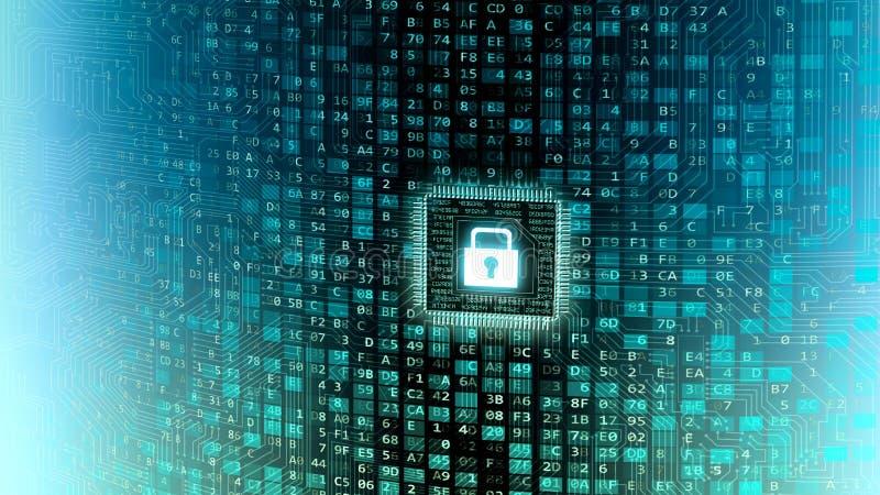Обеспеченная стена данным по информационной технологии информации в интернете иллюстрация вектора