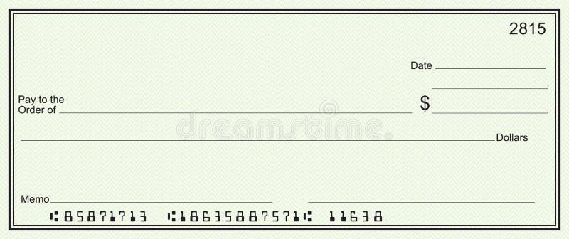 обеспеченность зеленого цвета незаполненного чек предпосылки большая иллюстрация штока
