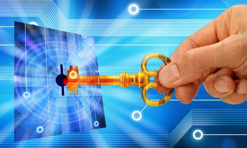 обеспеченность ключа компьютера стоковое изображение