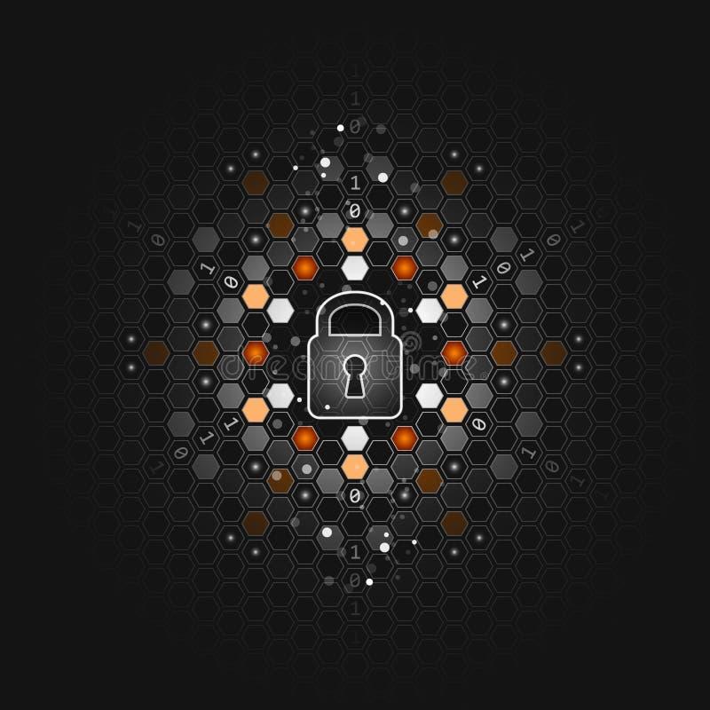 обеспеченность принципиальной схемы гловальная Абстрактная темная технологическая предпосылка Монтажная плата замка, шестиугольни иллюстрация штока
