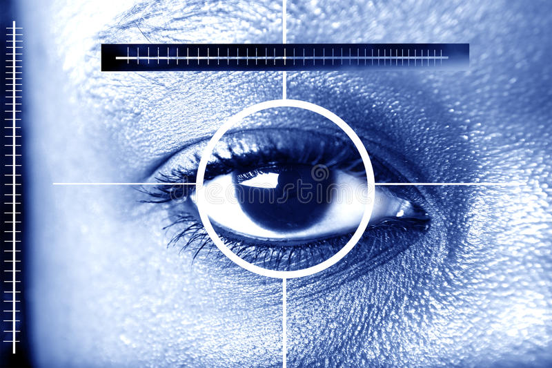 обеспеченность развертки глаза стоковое изображение